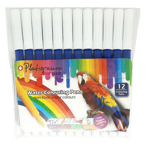 Platignum Water Colouring Pen - Blue 12 Pack